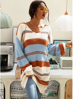 Color Block Cable-knit Chunky knit Polyester One Shoulder Pullovers Sweater Dresses Sweaters