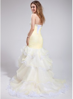 Trumpet/Mermaid Sweetheart Court Train Organza Prom Dress With Beading Feather Flower(s) Sequins Cascading Ruffles