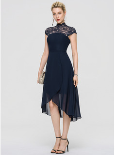 A-Line High Neck Asymmetrical Chiffon Cocktail Dress