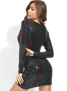 Polyester With Sequins Above Knee/Asymmetrical Dress