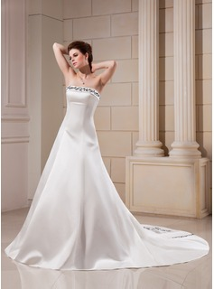 A-Line/Princess Strapless Chapel Train Satin Wedding Dress With Embroidered Beading