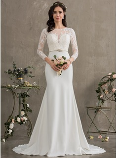 Trumpet/Mermaid Scoop Neck Court Train Stretch Crepe Wedding Dress With Beading Sequins