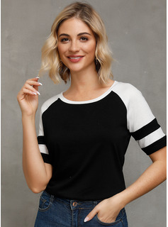 Manches courtes Polyester Col rond Tricot Blouses