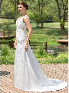 A-Line/Princess V-neck Court Train Taffeta Wedding Dress With Ruffle Beading Sequins