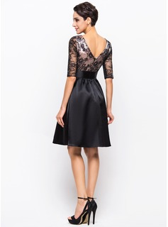 Scoop Neck Knee-Length Charmeuse Lace Cocktail Dress