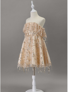 A-Line Knee-length Flower Girl Dress - Tulle/Sequined Sleeveless Scoop Neck