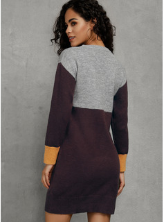 Color Block Cable-knit Polyester Round Neck Pullovers Sweater Dresses Sweaters