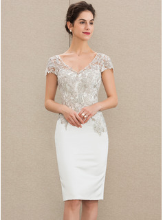 Sheath/Column V-neck Knee-Length Satin Lace Wedding Dress