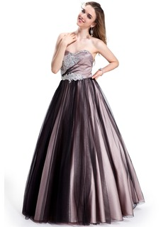 Ball-Gown Sweetheart Floor-Length Charmeuse Tulle Prom Dress With Beading Appliques Lace