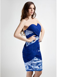 Sheath/Column Sweetheart Knee-Length Chiffon Mother of the Bride Dress With Beading Sequins