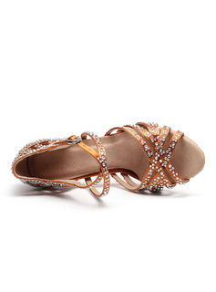 Women's Satin Heels Latin With Rhinestone Buckle Beading Dance Shoes