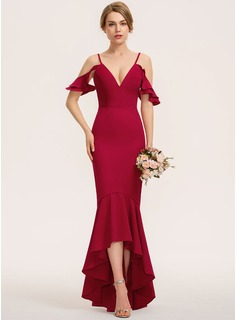 Trumpet/Mermaid V-neck Asymmetrical Stretch Crepe Evening Dress With Cascading Ruffles
