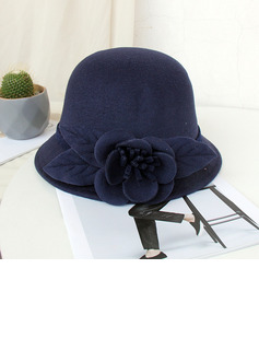 Ladies' Beautiful/Simple/Pretty Wool Blend With Silk Flower Bowler/Cloche Hats