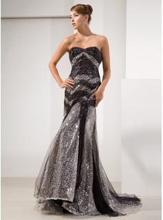 Trumpet/Mermaid Sweetheart Court Train Tulle Sequined Prom Dress