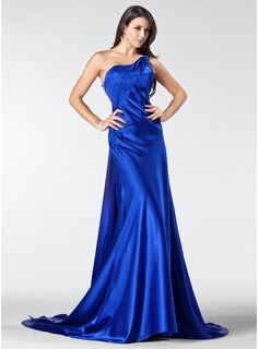 A-Line/Princess One-Shoulder Court Train Charmeuse Evening Dress With Ruffle Beading Appliques Lace