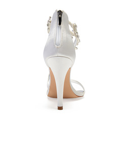 Women's Silk Like Satin Stiletto Heel Peep Toe Pumps Sandals With Rhinestone Zipper Chain