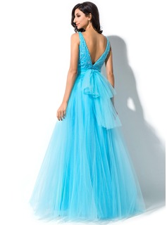 A-Line/Princess Scoop Neck Floor-Length Tulle Prom Dresses With Lace Beading Sequins Bow(s)