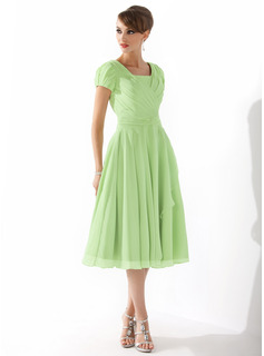 A-Line Square Neckline Knee-Length Chiffon Mother of the Bride Dress With Ruffle Beading