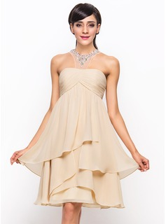 Scoop Neck Knee-Length Chiffon Cocktail Dress With Ruffle Beading Sequins
