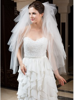 Six-tier Fingertip Bridal Veils With Cut Edge