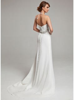 A-Line/Princess Halter Court Train Chiffon Wedding Dress With Ruffle Beading Sequins
