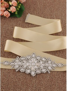Fashionable Satin Sash With Rhinestones