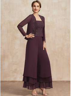 A-Line Square Neckline Ankle-Length Chiffon Lace Mother of the Bride Dress With Sequins