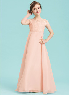 A-Line Scoop Neck Floor-Length Chiffon Junior Bridesmaid Dress With Beading