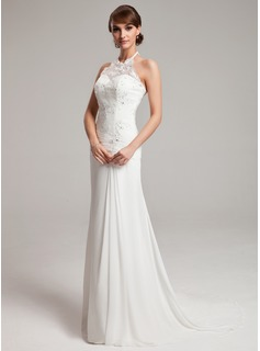 A-Line/Princess Halter Sweep Train Chiffon Tulle Wedding Dress With Ruffle Lace Beading