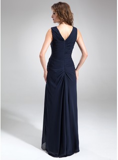 A-Line V-neck Asymmetrical Chiffon Mother of the Bride Dress With Ruffle Beading