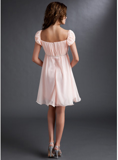 blush cap sleeve chiffon dress