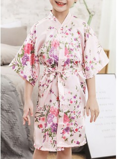 Non-personalized Charmeuse Flower Girl Floral Robes
