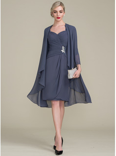 Sheath/Column Knee-Length Chiffon Mother of the Bride Dress