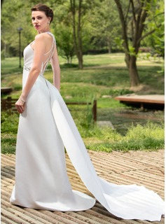 Sheath/Column Halter Watteau Train Detachable Satin Wedding Dress With Ruffle Beading Sequins