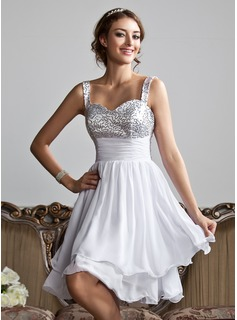 A-Line/Princess Sweetheart Knee-Length Chiffon Sequined Homecoming Dress With Ruffle