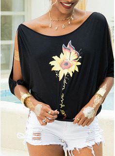 1/2 Sleeves Polyester Cold Shoulder T-shirt Blouses