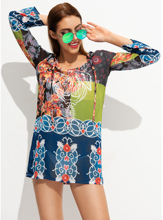 Sexy Tropical Print Polyester Nylon Cover-ups