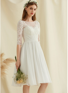 Scoop Neck Knee-Length Chiffon Lace Wedding Dress With Sequins