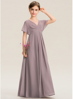 Empire V-neck Floor-Length Chiffon Junior Bridesmaid Dress With Ruffle
