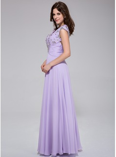 A-Line/Princess V-neck Floor-Length Chiffon Prom Dress With Ruffle Lace Beading Sequins