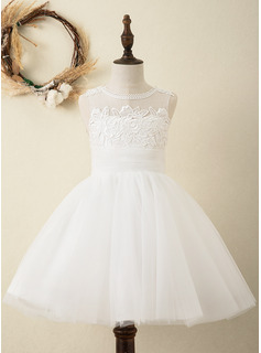 Knee-length Flower Girl Dress - Satin Tulle Lace Sleeveless Scoop Neck With Back Hole