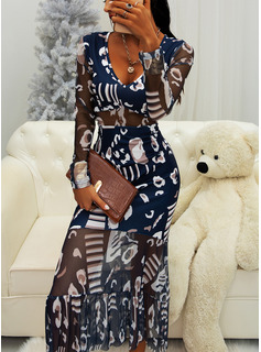 Print A-line V-Neck Long Sleeves Midi Elegant Skater Dresses