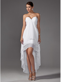 A-Line Sweetheart Asymmetrical Chiffon Wedding Dress With Ruffle Beading
