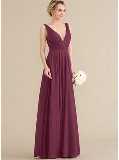 A-Line V-neck Floor-Length Chiffon Prom Dresses With Ruffle