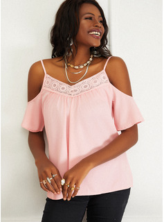 Regular Fitted Lace Solid Casual 1/2 Sleeves