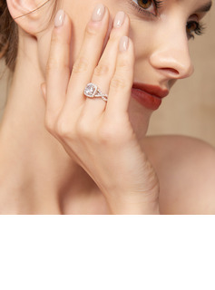 Halo Intertwined Round Cut 925 Silver Engagement Rings