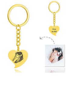 Bridesmaid Gifts - Personalized Photo Engraved Black And White Heart Sterling Silver 18k Gold Plated Keychains