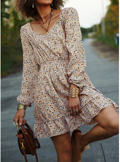 Floral Print A-line Square Neck Long Sleeves Midi Casual Skater Dresses