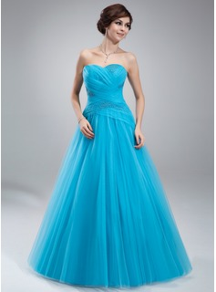 Ball-Gown Sweetheart Floor-Length Tulle Quinceanera Dress With Ruffle Beading