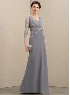 V-neck Floor-Length Chiffon Lace Mother of the Bride Dress With Bow(s)